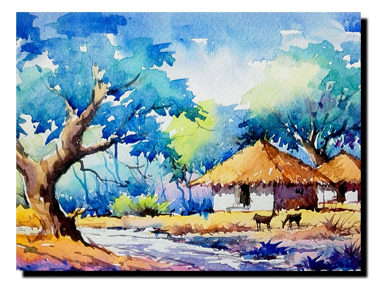1280x960 Landscape Paintings By Indian Artists Indian Watercolour