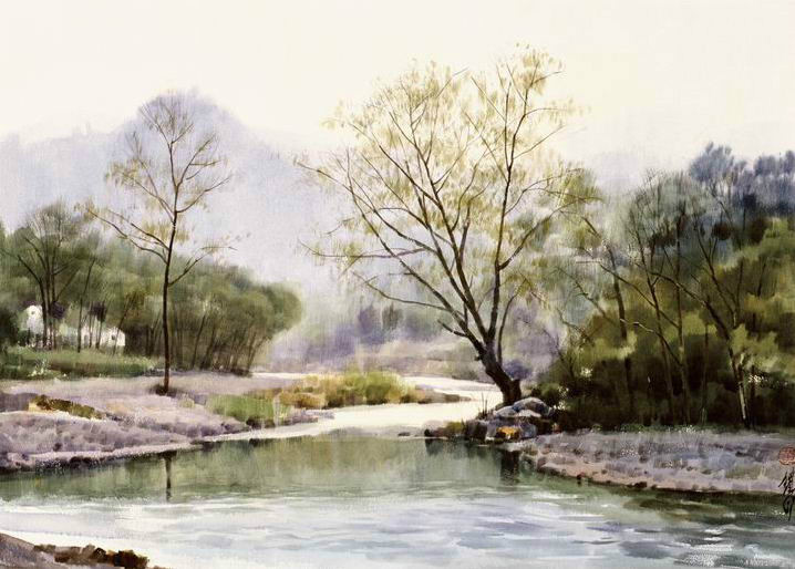 718x514 Landscape Watercolor Painting Of Huange Tie Shan Best Watercolor
