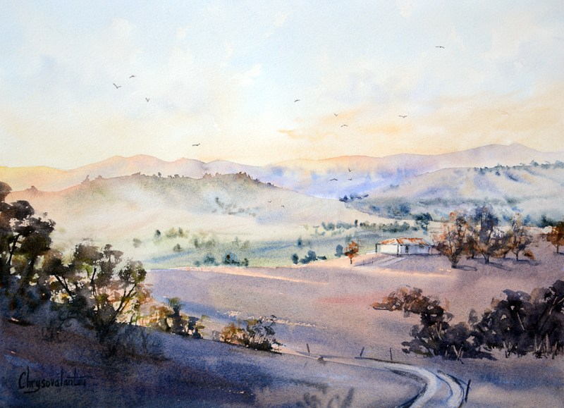 800x579 Medium Sized Landscape Watercolor Paintings For Sale