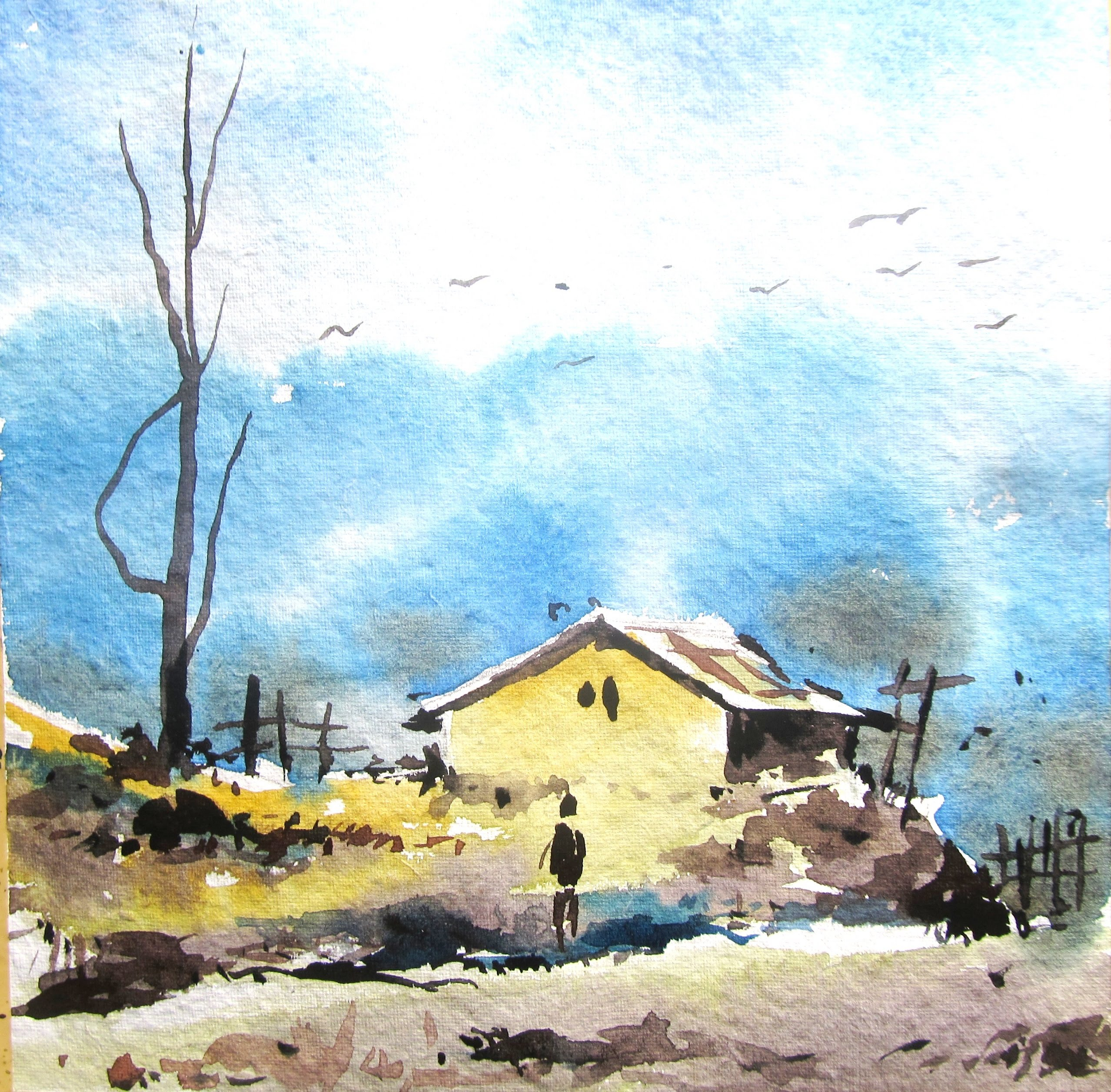 2556x2513 Simple Landscape Watercolor Paintings Creative Drawing
