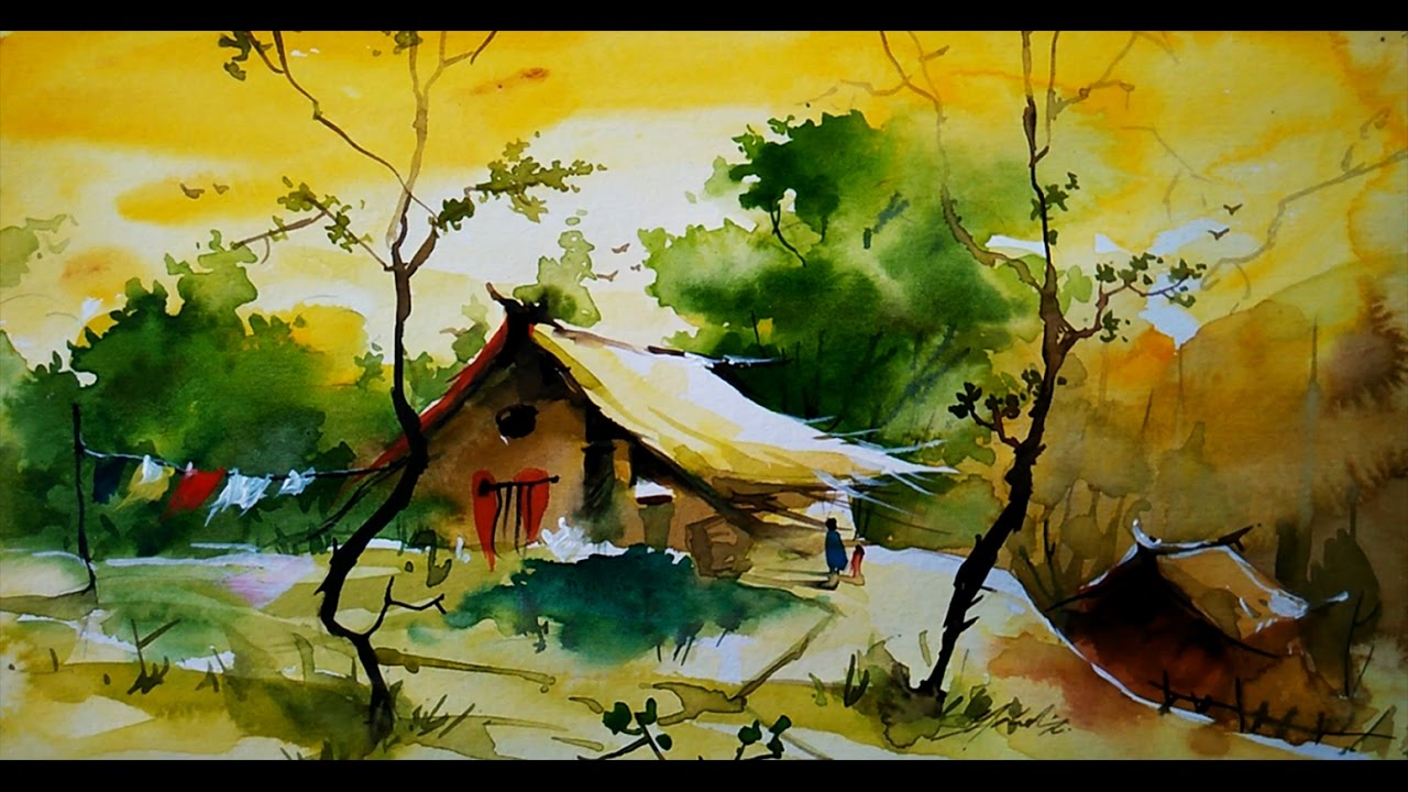 1280x720 Simple Water Color Landscape For Beginners By Paintlane