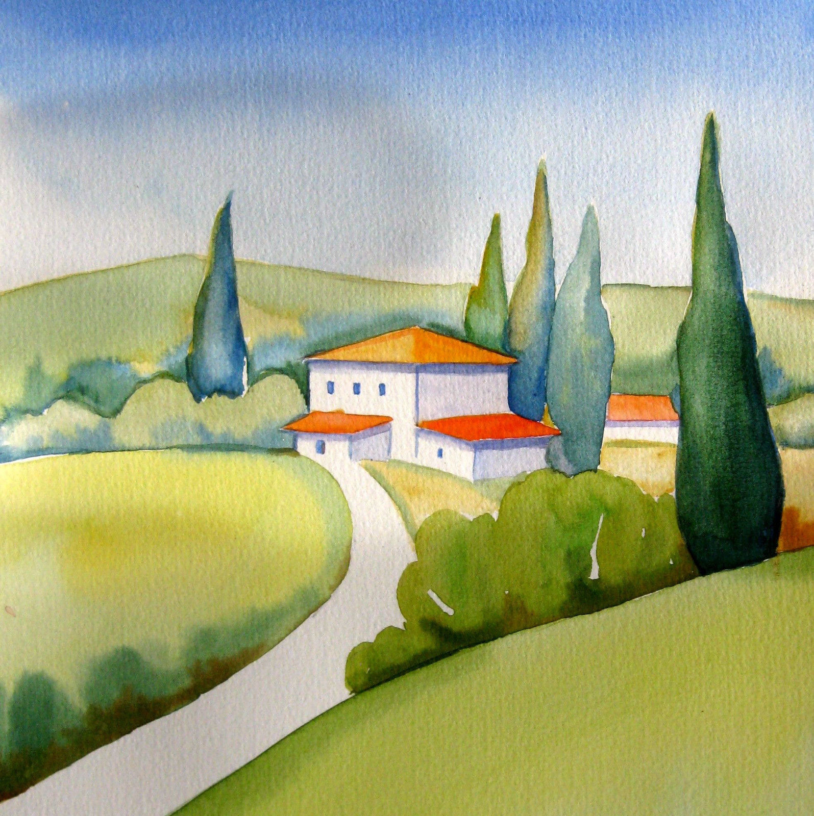 1595x1600 Tuscany Poppies Watercolor Italian Landscape Painting Signed Ebay