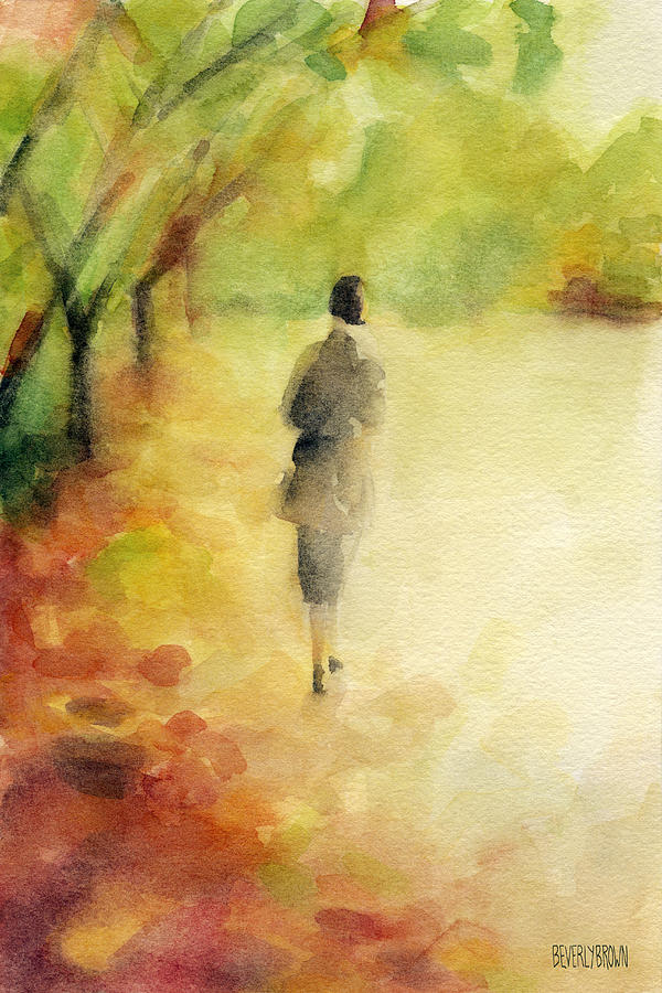 600x900 Woman Walking Autumn Landscape Watercolor Painting Painting By