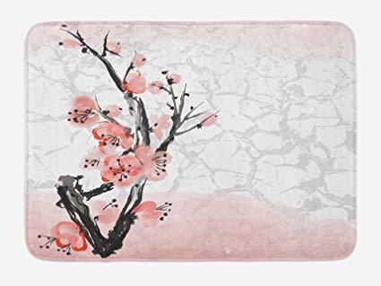 425x319 Lunarable Floral Bath Mat, Japanese Cherry Blossom