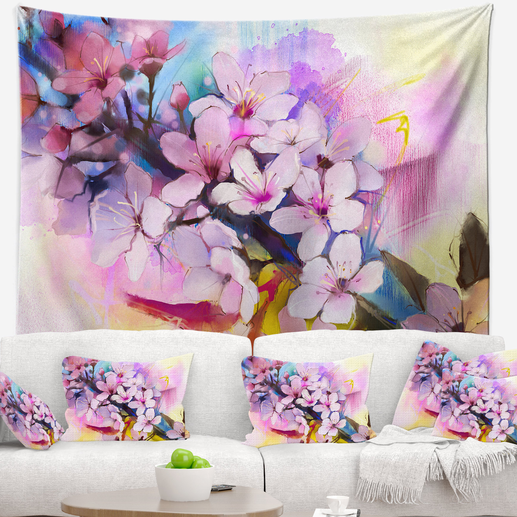 1740x1740 East Urban Home Japanese Cherry Blossoms Watercolor Tapestry And
