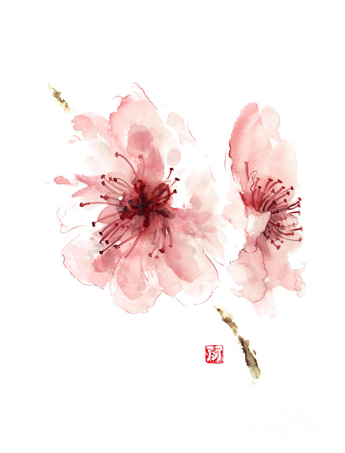 687x900 Cherry Blossom Art Print Watercolor Painting Japanese Flowers