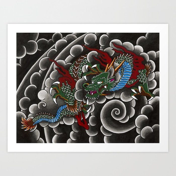700x700 Japanese Tattoo Style Dragon In Sumi Ink Wash And Watercolor Art