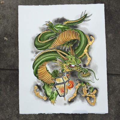 400x400 Nola Inspired Japanese Dragon. (Prints Available) Watercolor, By