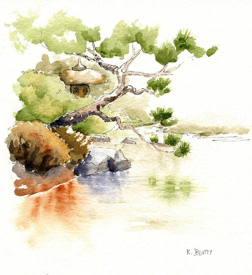 827x900 Japanese Garden Pond Sketch Painting By Karla Beatty