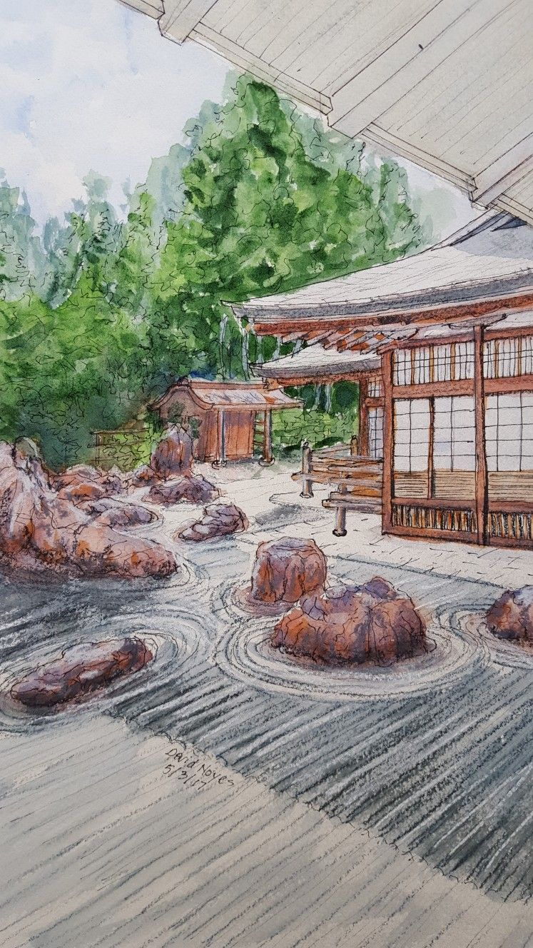 747x1328 Japanese Garden Watercolor, Ink, Colored Pencil Japanese Garden