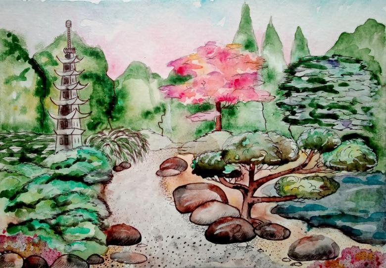 780x541 Japanese Garden Watercolor Painting