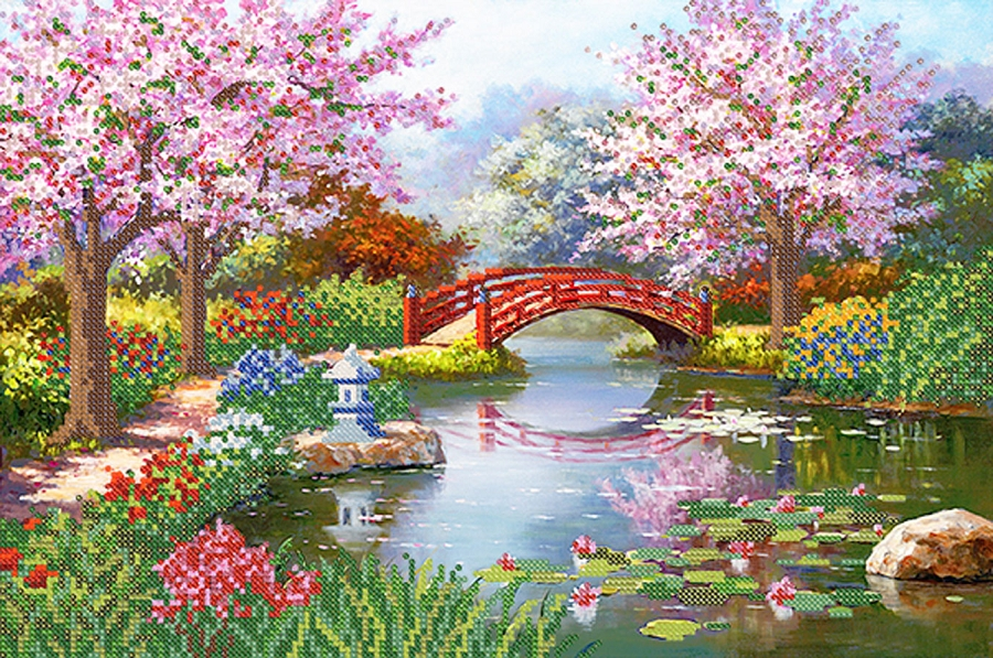 900x597 Japanese Garden Gift Idea, Diy Bead Embroidery Kit Bead On Needlepoint