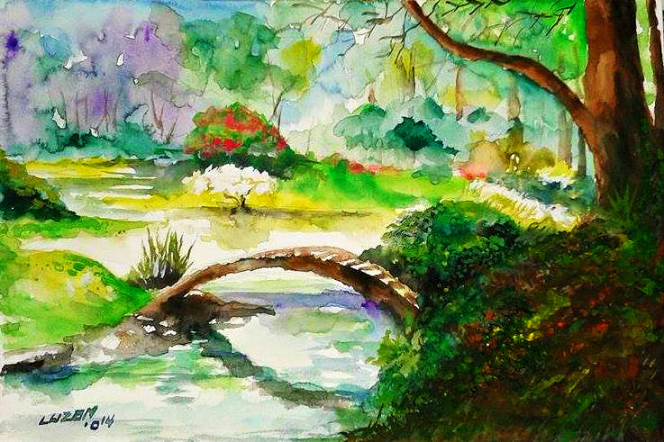 737x491 Japanese Garden In Watercolor. By Danteluzon