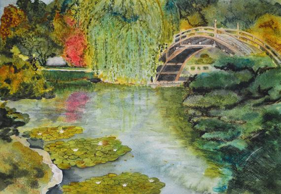 570x395 Japanese Garden Oriental Art Watercolor Painting Original Etsy