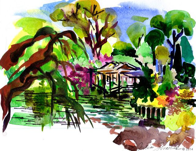 640x492 Japanese Garden Watercolor Landscapes Japanese