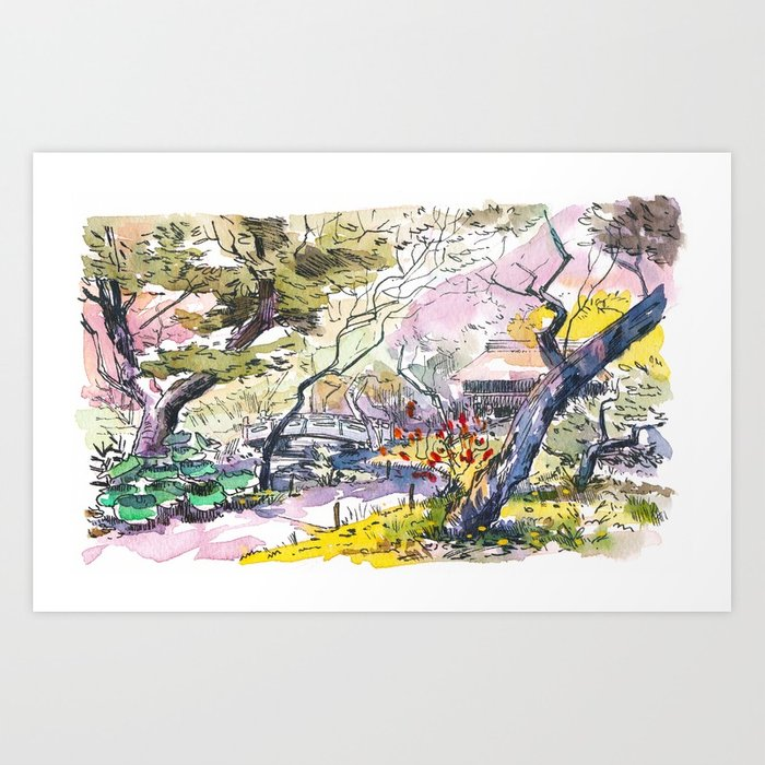 700x700 Japanese Garden Sketch Art Print By Mattjabbar Society6