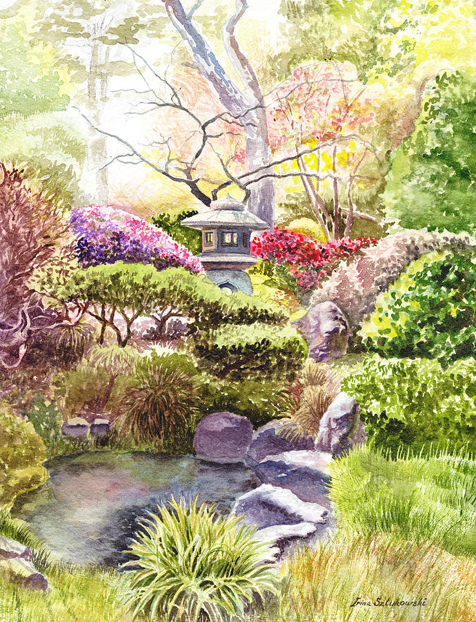 690x900 San Francisco Golden Gate Park Japanese Tea Garden Painting By