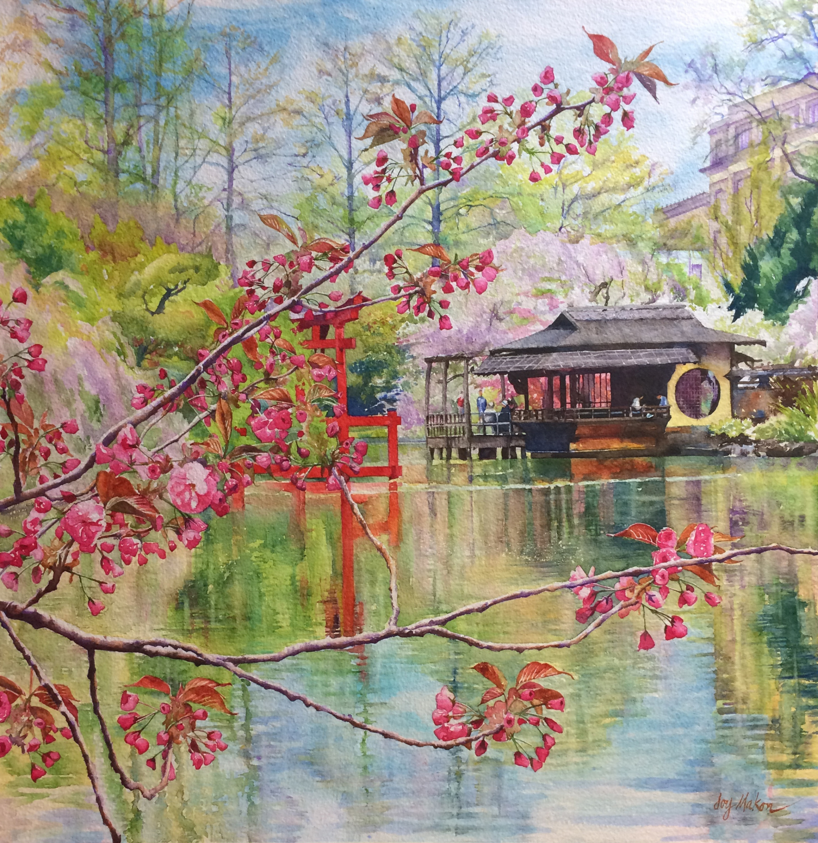 1600x1648 The Japanese Garden In April Watercolor