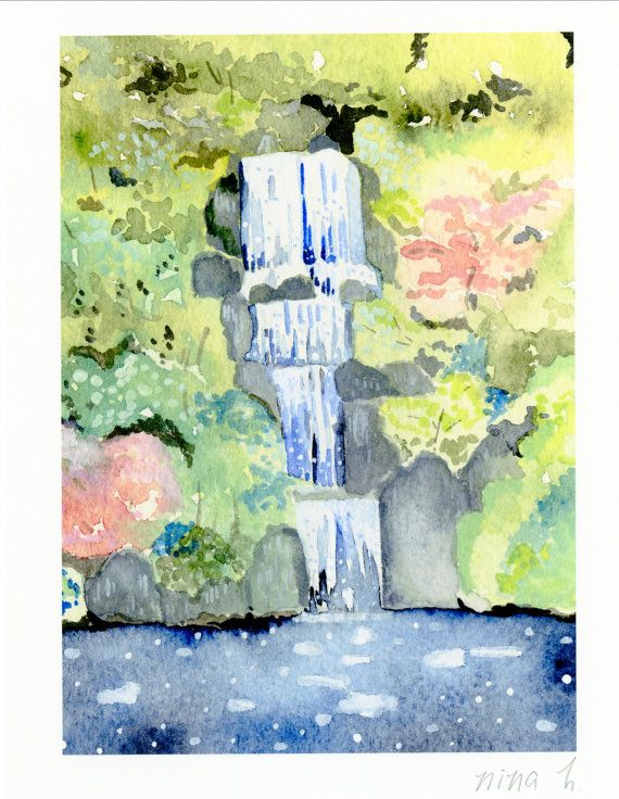 570x736 Zen Garden Waterfall Art Japanese Garden Waterall By Ninahuangart