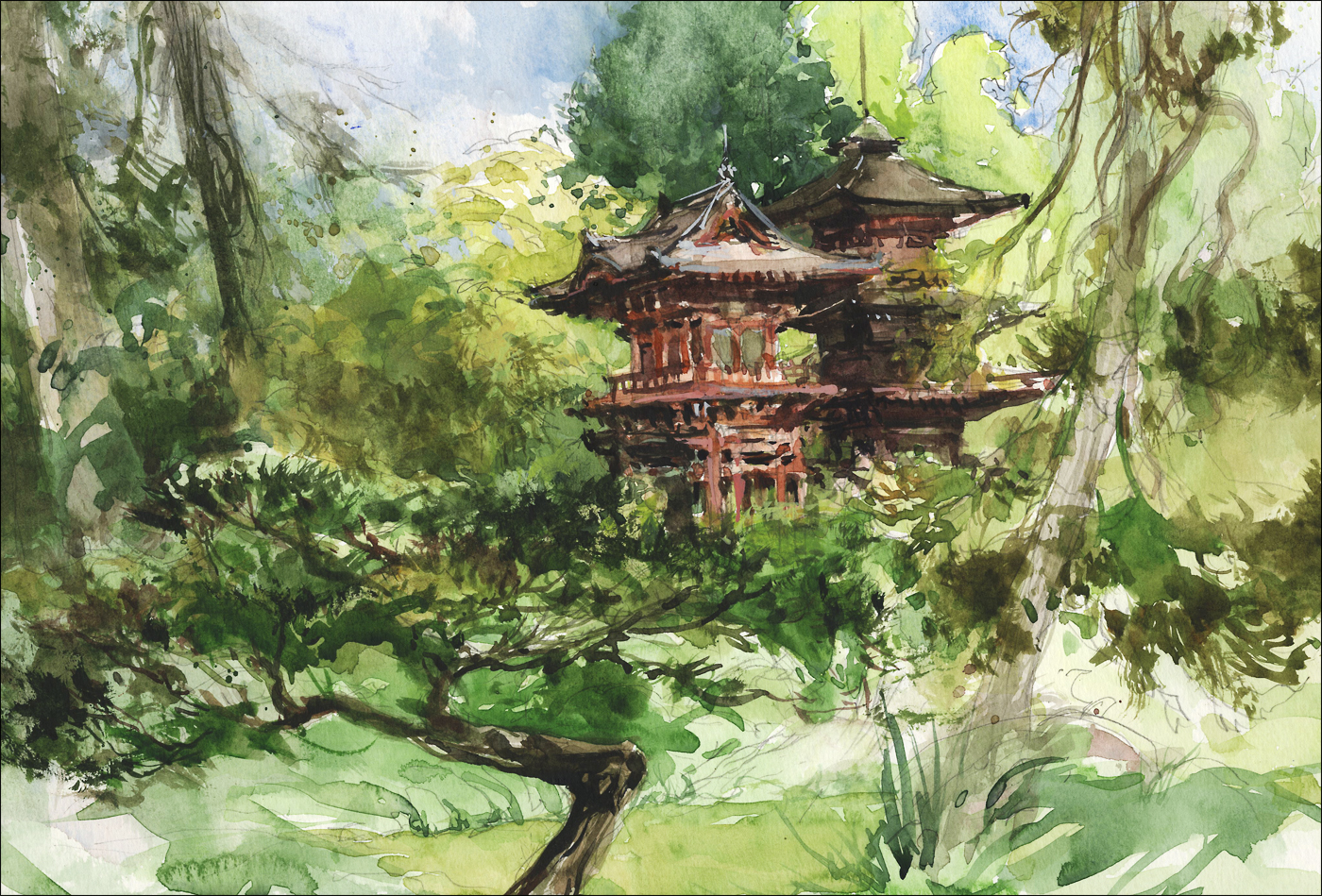 1400x949 Japanese Garden, Golden Gate Park Citizen Sketcher