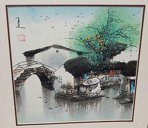 300x260 Japanese Watercolor River Bridge Landscape Painting Signed Ebay