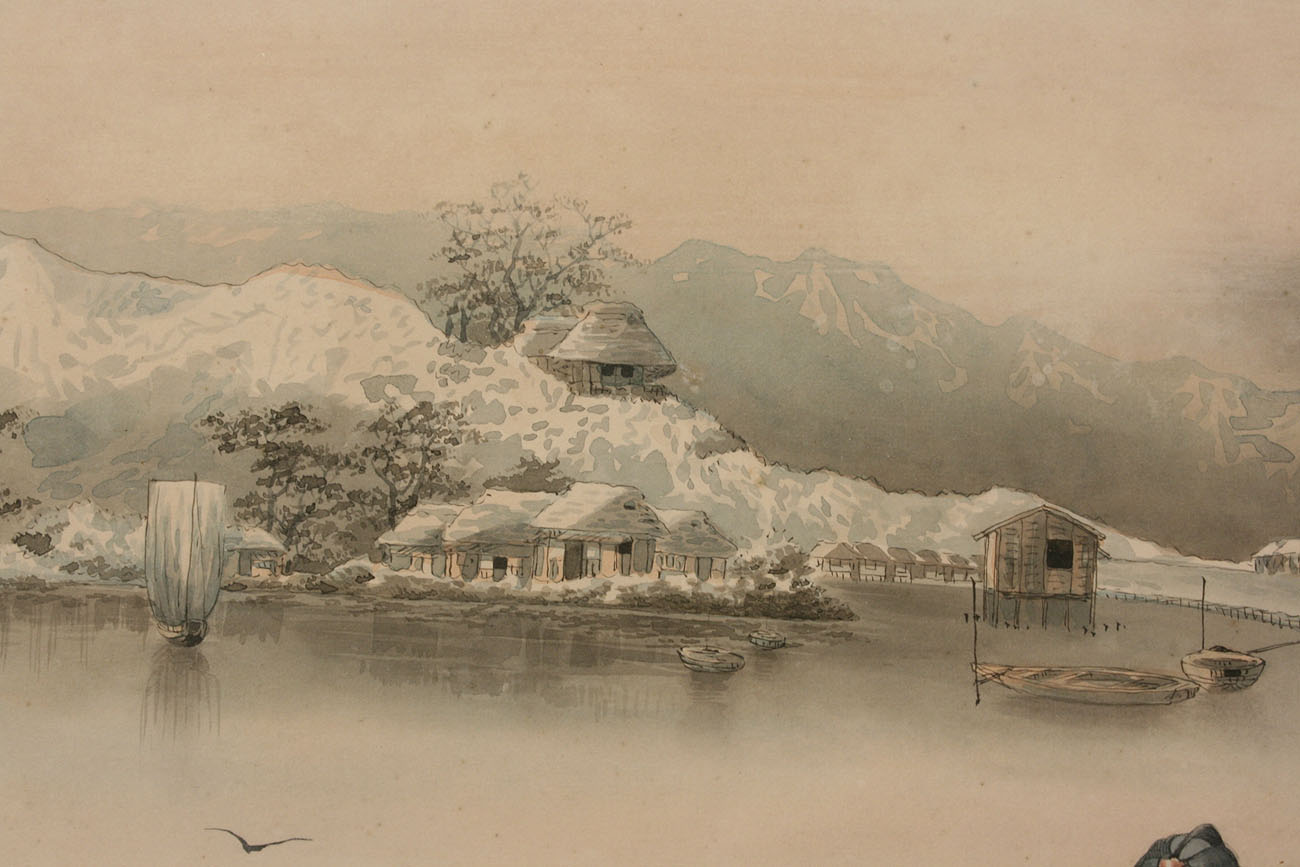 1300x867 Lot 417 Pair Of Japanese Framed Watercolor Landscapes, Signed