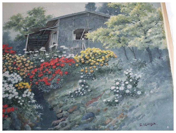 740x560 Shigeburo Ishida Japanese Watercolor Pre War Forge Village Fine