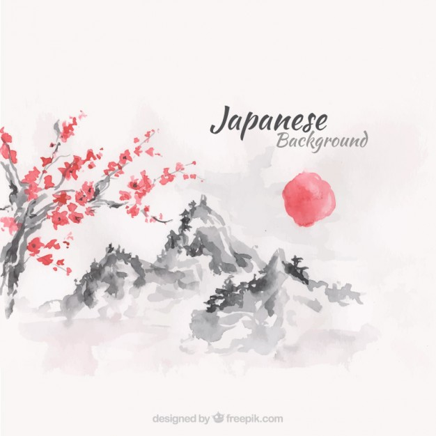 626x626 Sunset Japanese Landscape Background In Watercolor Effect Vector
