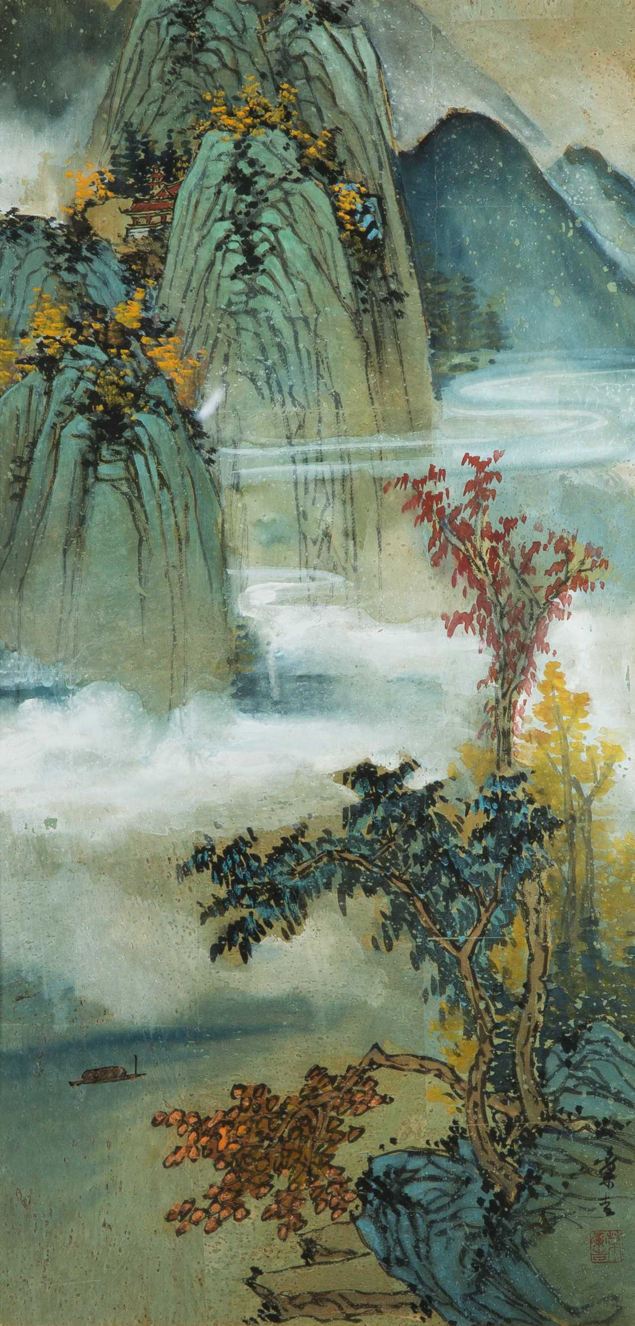 1276x2662 Chinese Japanese Watercolor On Paper Of A Coastal And Mountain Scene