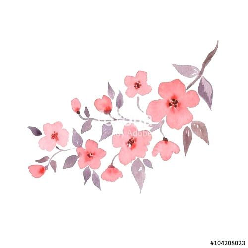 500x500 Cherry Blossom Watercolor Tattoo. Japanese Cherry Blossom