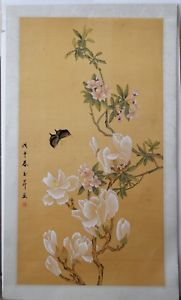181x300 Vintage Japanese Watercolor Flowers Painting On Paper Hand Signed