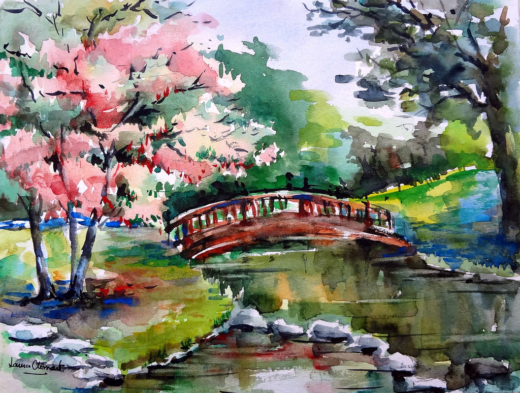 1024x773 Japanese Landscape Drawing Japanese Watercolor Landscape Free
