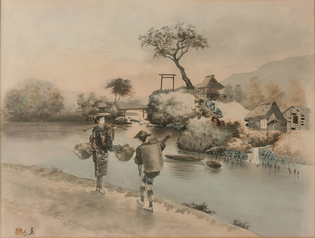 1062x803 Lot 417 Pair Of Japanese Framed Watercolor Landscapes, Signed