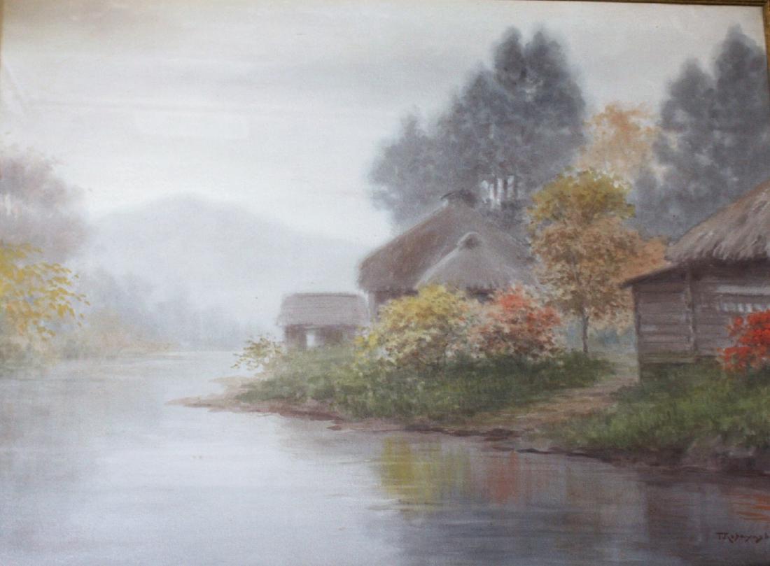 1100x809 T. Kobayashi Japanese Watercolor Landscape Signed