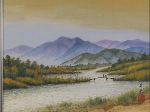 300x224 Japan Japanese Painting River Mountain Landscape W Figures Signed