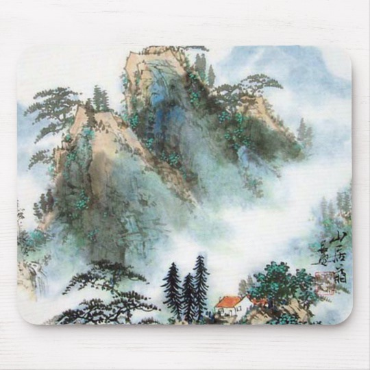 540x540 Japanese Mountain Watercolor Mouse Pad