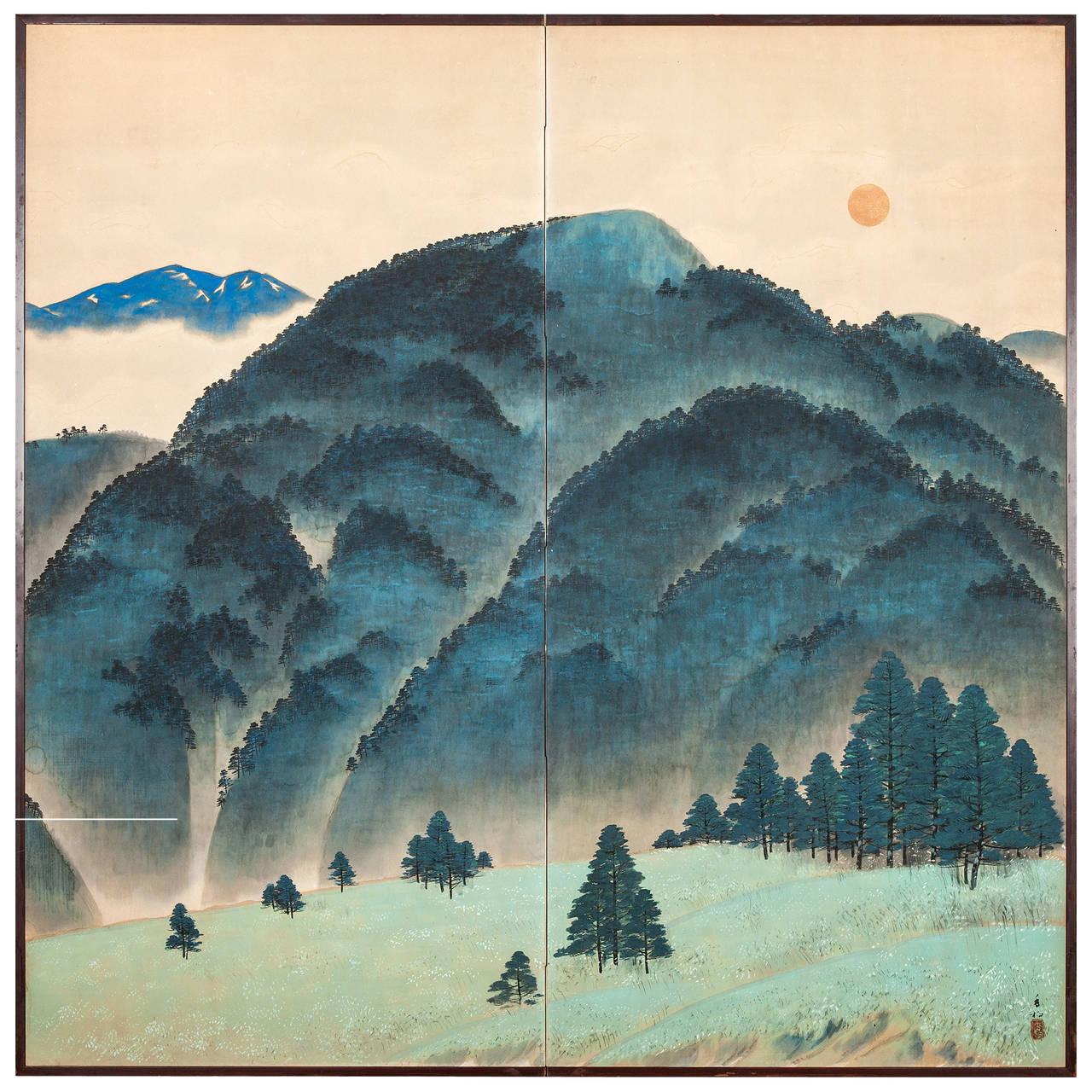 1280x1280 Japanese Screen Blue Mountain Landscape
