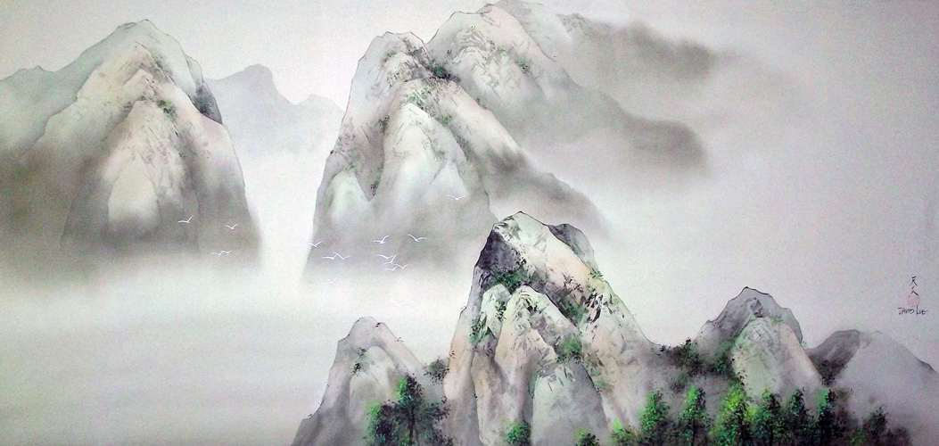 1053x500 Passage To Emerald Mountain Watercolor 1997 34x58 By David Lee