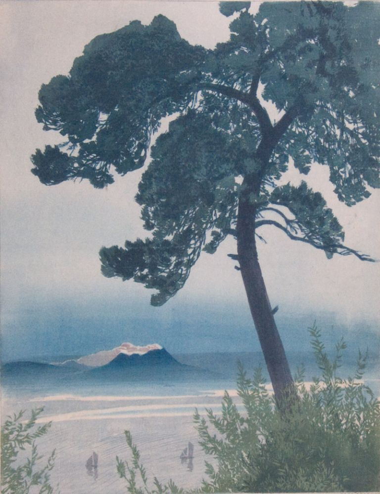 768x1000 Color Woodcut In Japanese Style Landscape, A Large Tree With A
