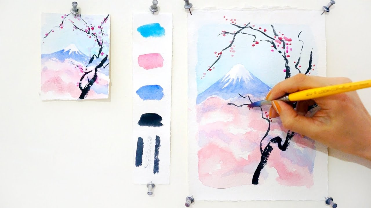1280x720 Cherry Blossom And Mount Fuji. Step By Step Watercolor Tutorial
