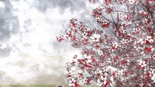 320x180 Hand Painted Ink Or Watercolor Artistic Style Japanese Sakura