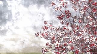 320x180 Lush Blooming Japanese Sakura Cherry Tree In Hand Painted Ink Or