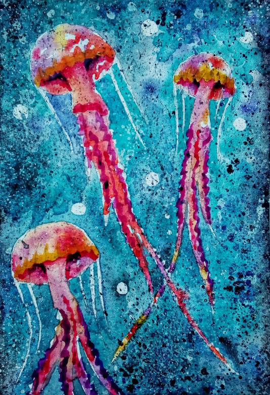 533x780 Jellyfish Watercolor Painting