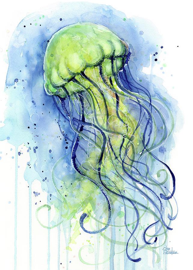 642x900 Jellyfish Watercolor Painting By Olga Shvartsur