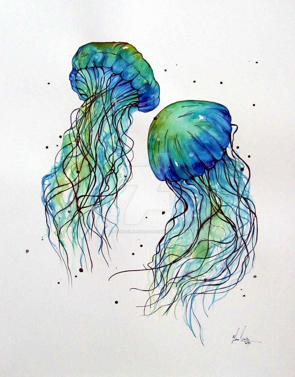 1024x1307 Jellyfish Watercolor By Fiona Clarkeart