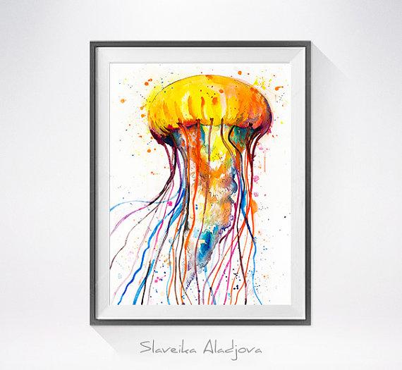 570x525 Jellyfish Watercolor Painting Print
