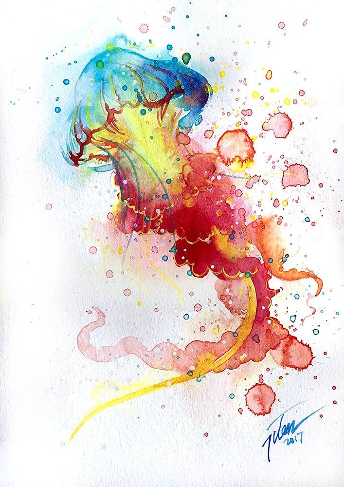 707x1000 Jellyfish Watercolour A4 8.3 X 11.7 Inches Original