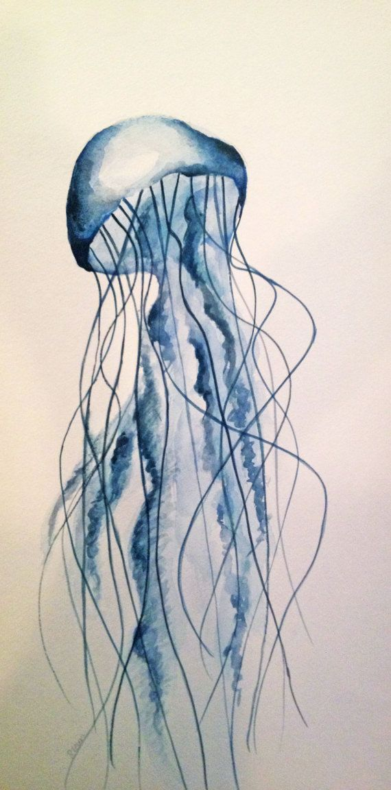 570x1152 Made To Order Jellyfish Watercolor Painting, Original By W