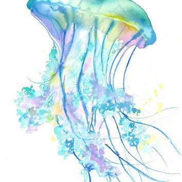 354x354 Original Watercolor Jellyfish Study No. 4 From Jessica Art