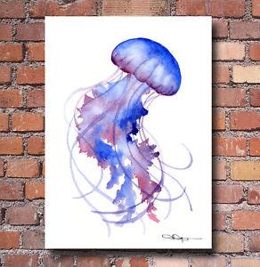 292x300 Purple Jellyfish Art Print Watercolor Painting Colorful Wall Decor